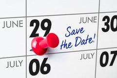 Muurkalender met een rode speld - 29 Juni Royalty-vrije Stock Afbeelding