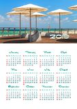 Muurkalender voor het jaar van 2019, enige pagina met foto stock afbeeldingen