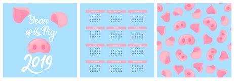 Muurkalender voor 2019 van Zondag aan Zaterdag Chinees Nieuwjaar van het varken Het naadloze patroon van de Piggyneus Hand het va vector illustratie