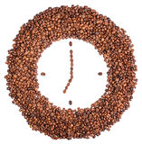 Muurklok van koffiebonen Stock Foto