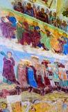 Muurschilderij in Alexander Svirsky Monastery in Staraya Sloboda, Rusland Juli 2016 stock foto