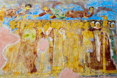 Muurschilderij in Alexander Svirsky Monastery in Staraya Sloboda, Rusland Juli 2016 royalty-vrije stock afbeelding