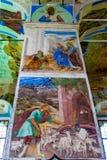 Muurschilderij in Alexander Svirsky Monastery in Staraya Sloboda, Rusland Juli 2016 stock afbeelding