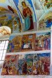 Muurschilderij in Alexander Svirsky Monastery in Staraya Sloboda, Rusland Juli 2016 stock fotografie