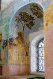 Muurschilderij in Alexander Svirsky Monastery in Staraya Sloboda, Rusland Juli 2016 royalty-vrije stock foto