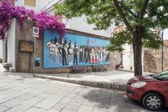 Muurschilderij, murales in Oliena-dorp, de Provincie van Nuoro, eiland Sardinige, Itali? royalty-vrije stock foto