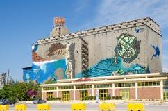 Muurschilderij op één van de oude silo en de droogdokkengebouwen Royalty-vrije Stock Foto's