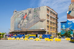 Muurschilderij op één van de oude silo en de droogdokkengebouwen Royalty-vrije Stock Afbeeldingen
