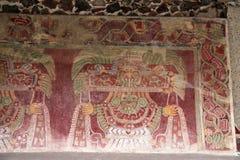 Muurschilderijen op de Piramides van Teotihuacan, Mexico royalty-vrije stock afbeelding