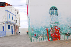 Muurschildering, Asilah, Marokko Stock Foto's