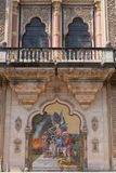 Muurschildering bij een Indische paleisingang Royalty-vrije Stock Foto