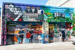 Muurschildering in de buurt van het Opdrachtdistrict in San Francisco Stock Foto