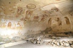 Muurschildering het schilderen 13de eeuw, David Gareja en Udabno-klooster stock afbeeldingen