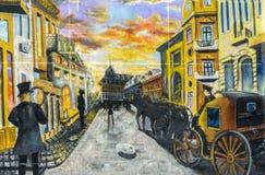 Muurschildering het schilderen met oude Lipscani-straat, Craiova Royalty-vrije Stock Fotografie