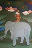 Muurschildering het schilderen - Simtokha Dzong - Thimphu - Bhutan Stock Afbeelding