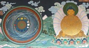 Muurschildering het schilderen in Trashi Chhoe Dzong, Thimphu, Bhutan stock afbeeldingen