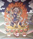 Muurschildering het schilderen in Trashi Chhoe Dzong, Thimphu, Bhutan Stock Afbeelding