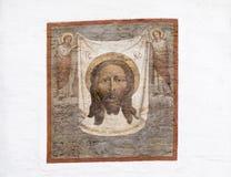 Muurschildering in kathedraal van Christus de redder, Irkoetsk, Russische federatie stock foto
