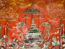 Muurschildering met metaaloverzicht van Boedha Royalty-vrije Stock Foto's