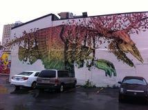 Muurschildering op het Plateau Mont Royal in Montreal Stock Foto's