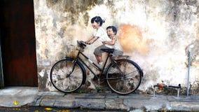 Muurschildering in Penang Maleisië Stock Afbeeldingen