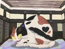 Muurschildering van een grappige reuzediekat in Himeji wordt gevestigd royalty-vrije stock afbeelding