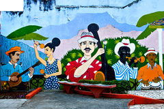 Muurschildering van musici in park in Baracoa, de provincie van Guantanamo, Cuba royalty-vrije stock fotografie