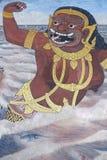 Muurschildering van Ramayana in Wat Pra Kaew, Bangkok, Thailand Stock Afbeeldingen