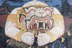Muurschildering van Ramayana in Wat Pra Kaew, Bangkok, Thailand Stock Foto's