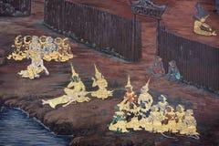 Muurschildering van Ramayana in Wat Pra Kaew, Bangkok, Thailand Royalty-vrije Stock Fotografie