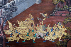 Muurschildering van Ramayana in Wat Pra Kaew, Bangkok, Thailand Royalty-vrije Stock Foto