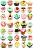 Muurschildering van verscheidene cupcakes Stock Afbeeldingen