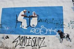 Muurschildering in Warshau royalty-vrije stock afbeelding