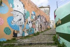 Muurschilderingen op de straten in Lissabon royalty-vrije stock foto