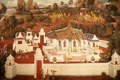 Muurschilderingen in Wat Phra Kaew Royalty-vrije Stock Afbeelding