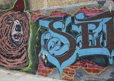 Muurschilderingkunst in Astoria-sectie van Queens Stock Afbeeldingen