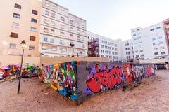 Muurschilderingkunst bij een muur in Valencia, Spanje stock afbeeldingen