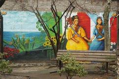 Muurschilderingkunst bij het Oosten Harlem in New York Stock Foto