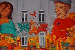 Muurschilderingkunst of graffiti bij de bouw van voorgevel royalty-vrije stock foto