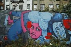 Muurschilderingkunst in Houston Avenue in Soho Stock Foto