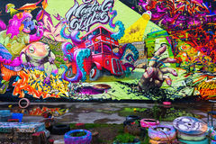 Muurschilderingkunst op een muur in de stad van Londen, het UK stock fotografie