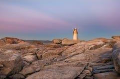 Muxia-Leuchtturm bei Sonnenuntergang Stockfotografie