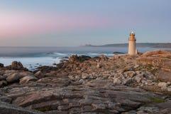 Muxia-Leuchtturm bei Sonnenuntergang Lizenzfreies Stockfoto