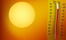 Muy caliente, sol y termómetro Imagen de archivo