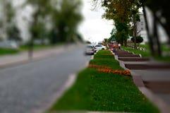 Muy calle de la ciudad con el peope que circunda en te del lense del inclinación-cambio Fotos de archivo libres de regalías