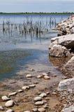 Muy línea de la playa del lago local Fotos de archivo libres de regalías