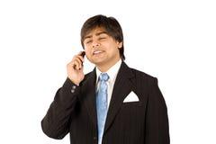 Muy ocupado en el teléfono celular Foto de archivo libre de regalías