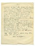 Muy vieja carta manuscrita Foto de archivo libre de regalías