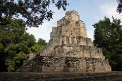 Muyil ancient Maya site, Mexico. Muyil was one of the earliest and longest inhabited ancient Maya sites on the eastern coast of the Yucatan Peninsula. It is royalty free stock photography