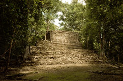 Muyil ancient Maya sites, Yucatan Peninsula in Mexico. Muyil also known as Chunyaxche was one of the earliest and longest inhabited ancient Maya sites on the stock photos